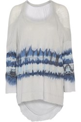 Raquel Allegra Tie Dyed Cotton Blend And Gauze Top Gray