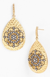 Freida Rothman 'Hamptons' Nautical Wheel Teardrop Earrings Gold Gunmetal