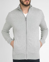 Celio Club Grey Swzip Cotton Cashmere High Collar Zip Cardigan