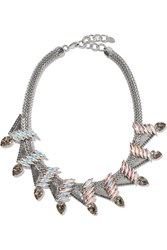 Elizabeth Cole Jordan White Gold Plated Swarovski Crystal And Stone Necklace Metallic