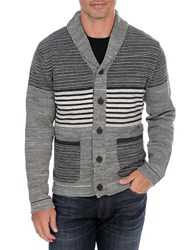 Lucky Brand Striped Button Front Cardigan Grey