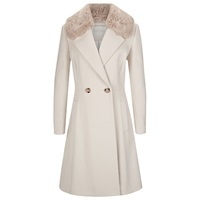 Kaliko Faux Fur Collar Longline Coat Multi Cream