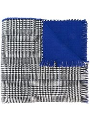 Twin Set Houndstooth Pattern Scarf Blue