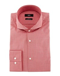 Hugo Boss Dwayne Slim Fit End On End Check Dress Shirt Red White