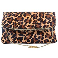 Marie Odile For Soltek Chantilly Clutch Printed Cheetah On Pony Hair