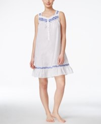 Eileen West Embroidered Nightgown White Blue