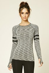 Forever 21 Active Marled Seamless Knit Top Charcoal Black