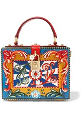 Dolce And Gabbana Dolce Leather Trimmed Painted Wood Clutch Red