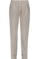Brunello Cucinelli Metallic Cotton Blend Jersey Track Pants Beige