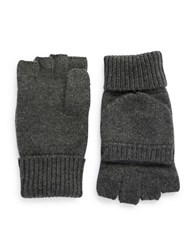 Black Brown Cashmere Fingerless Mittens Charcoal