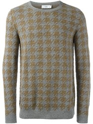 Closed Houndstooth Patterned Sweater Grey