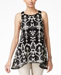 Alfani Embroidered Mesh Swing Top Only At Macy's Deep Black