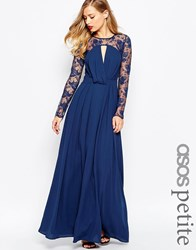Asos Petite Kate Lace Maxi Dress With Long Sleeves Navy