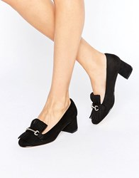 Truffle Collection Fringe Mid Heel Loafer Black Micro