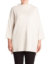Eileen Fisher Silk And Organic Cotton Funnelneck Tunic Bone