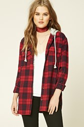 Forever 21 Hooded Plaid Flannel Shirt Wine Black