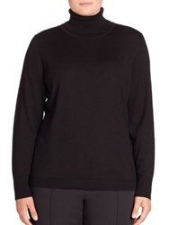 Basler Plus Size Wool And Silk Turtleneck Sweater Black