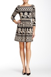 Eci 3 4 Length Sleeve Lace Fit And Flair Dress Black