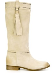 Twin Set Studded Tassel Boots Nude And Neutrals