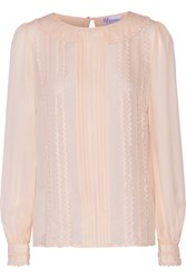 Red Valentino Appliqued Silk Blouse Pink