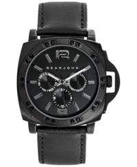 Sean John Men's Black Leather Strap Watch 49Mm 10025663
