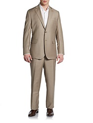 Saks Fifth Avenue Black Classic Fit Wool And Silk Two Button Suit Camel