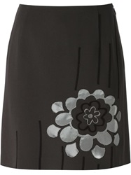 Moschino Vintage Flower Applique Skirt Grey