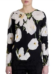 Dolce And Gabbana Floral Silk Cashmere Sweater White Tulip