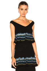 Peter Pilotto Jacquard Ruffle Knit Crop Top In Blue Stripes Blue Stripes