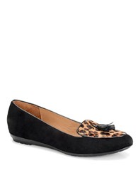 Sofft Bryce Leopard Print Calf Hair And Suede Smoking Flats Black Leopard