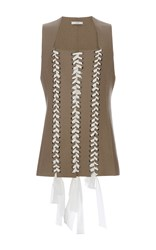 Tome Lace Up Felt Vest Tan