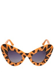 Jeremy Scott By Linda Farrow Tiger Printed Acetate Cat Eye Sunglasses