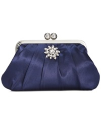 Style And Co. Beth Satin Clutch Navy
