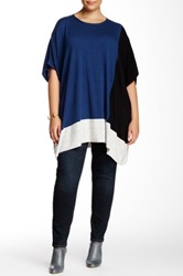 Love Token Oversized Colorblocked Tunic Plus Size Blue