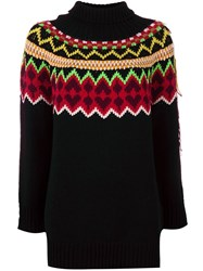 Twin Set Fair Isle Long Knit Jumper Black