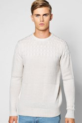 Boohoo Cable Crew Neck Jumper Oatmeal