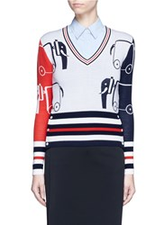 Thom Browne Elephant Jacquard Colourblock Wool Sweater Multi Colour