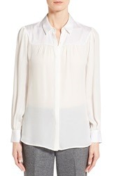 Classiques Entier Shirred Yoke Stretch Silk Blouse Regular And Petite Ivory Cloud