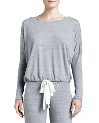 Eberjey Slouchy Drawstring Tee Gray Heather