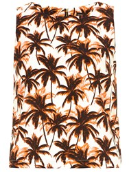 Dorothy Perkins Palm Tree Print Cropped Shell Top Orange
