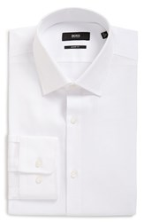 Boss Men's Big And Tall Sharp Fit Solid Dress Shirt White