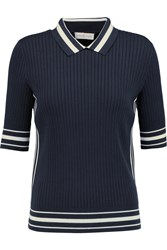 Tory Burch Ribbed Knit Cotton Blend Polo Shirt Blue