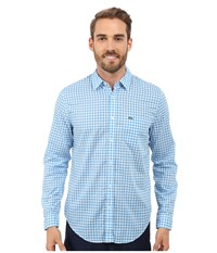 Lacoste Cotton Voile Check Print Shirt White Spa Blue Men's Clothing