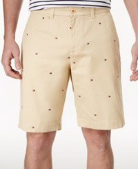 Tommy Hilfiger Men's Big And Tall Classic Fit Embroidered Shorts Keel Khaki
