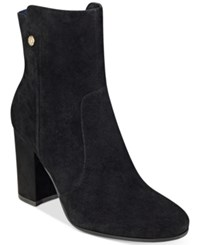 Tommy Hilfiger Natalai Ankle Booties Women's Shoes Black Suede
