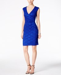 Connected Sequined Lace Sheath Dress Cobalt Blue
