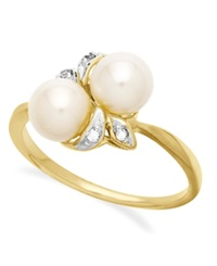 Macy's 10K Gold Ring Cultured Freshwater Pearl And Diamond Accent Leaf Ring