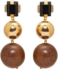 Marni Gold Stone And Wood Clip On Earrings