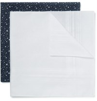 Derek Rose Two Pack Cotton Handkerchiefs Blue