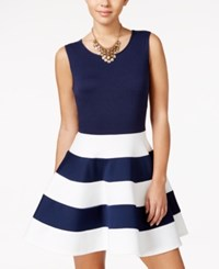 City Studios Juniors' Striped Fit And Flare Scuba Dress Navy Off White